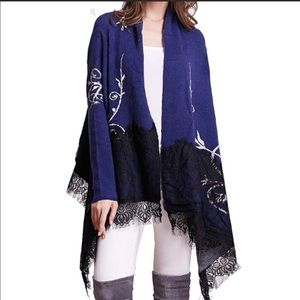Simply Couture Navy and Black Lace Open Cardigan